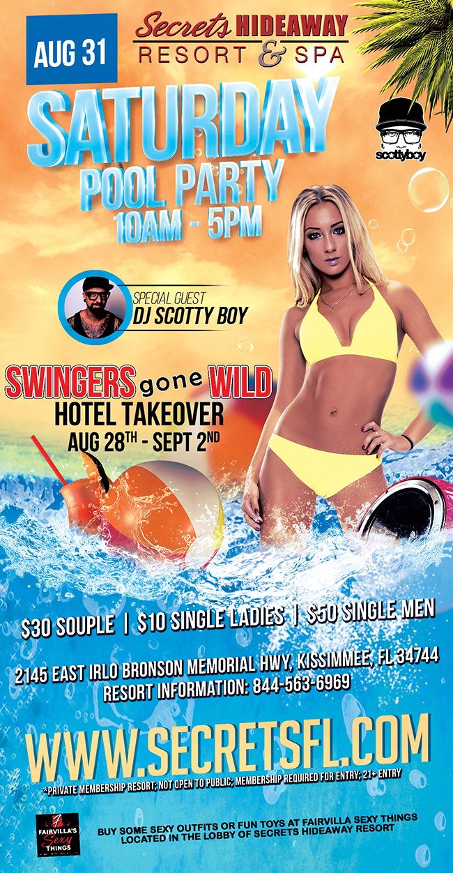 Events - Saturday Pool Party 10am - 5pm - Swingers Gone Wild Orlando, Florida Lifestyle and Swinger Parties