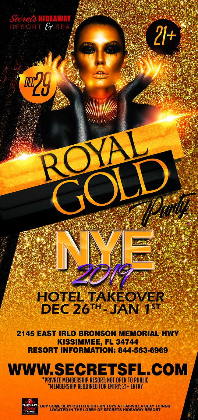 Events - Royal Gold - NYE Hotel Takeover Orlando, Florida Lifestyle and Swinger Parties
