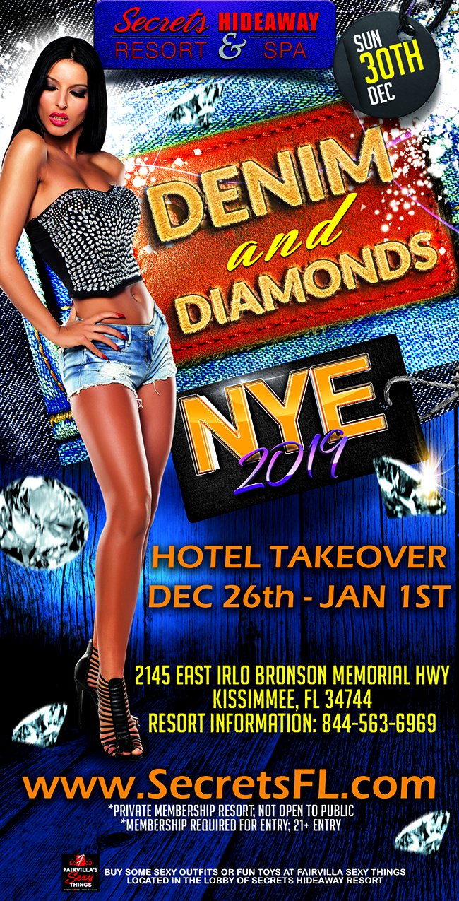 Events - Denim & Diamonds - NYE Hotel Takeover Orlando, Florida Lifestyle and Swinger Parties