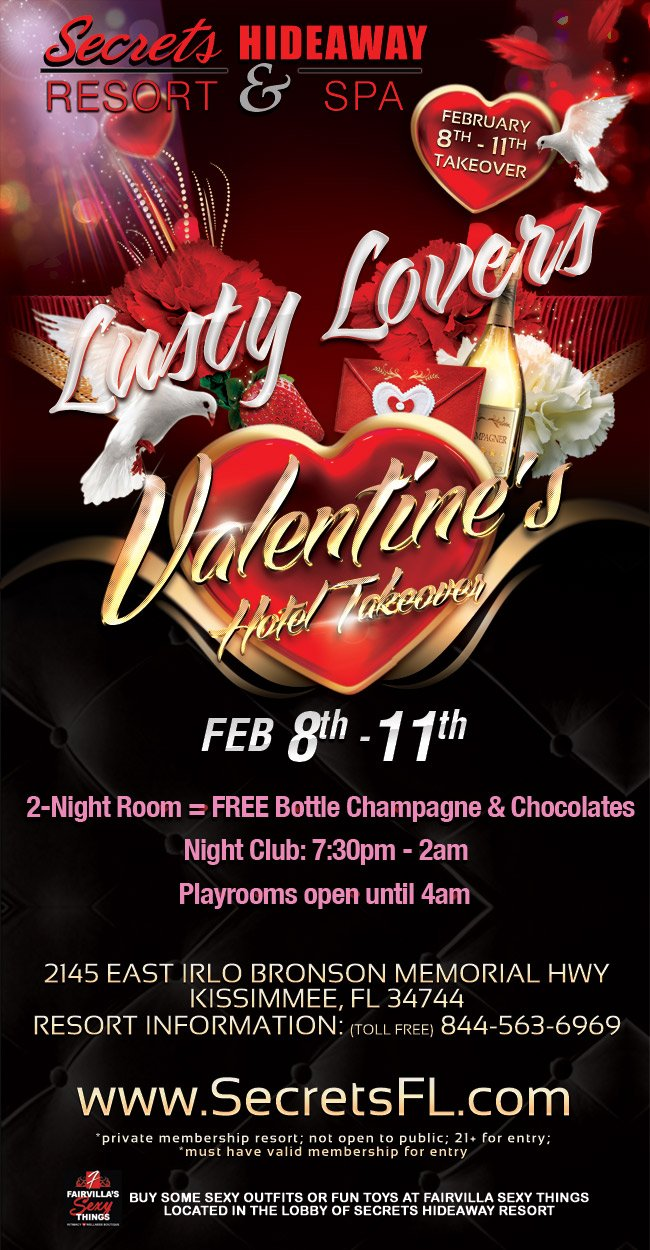 Events - Lusty Lovers Valentine Takeover Orlando, Florida Lifestyle and Swinger Parties