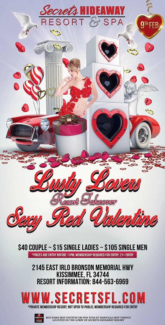 Events - Sexy Red Valentine - Lusty Lovers Takeover Orlando, Florida Lifestyle and Swinger Parties