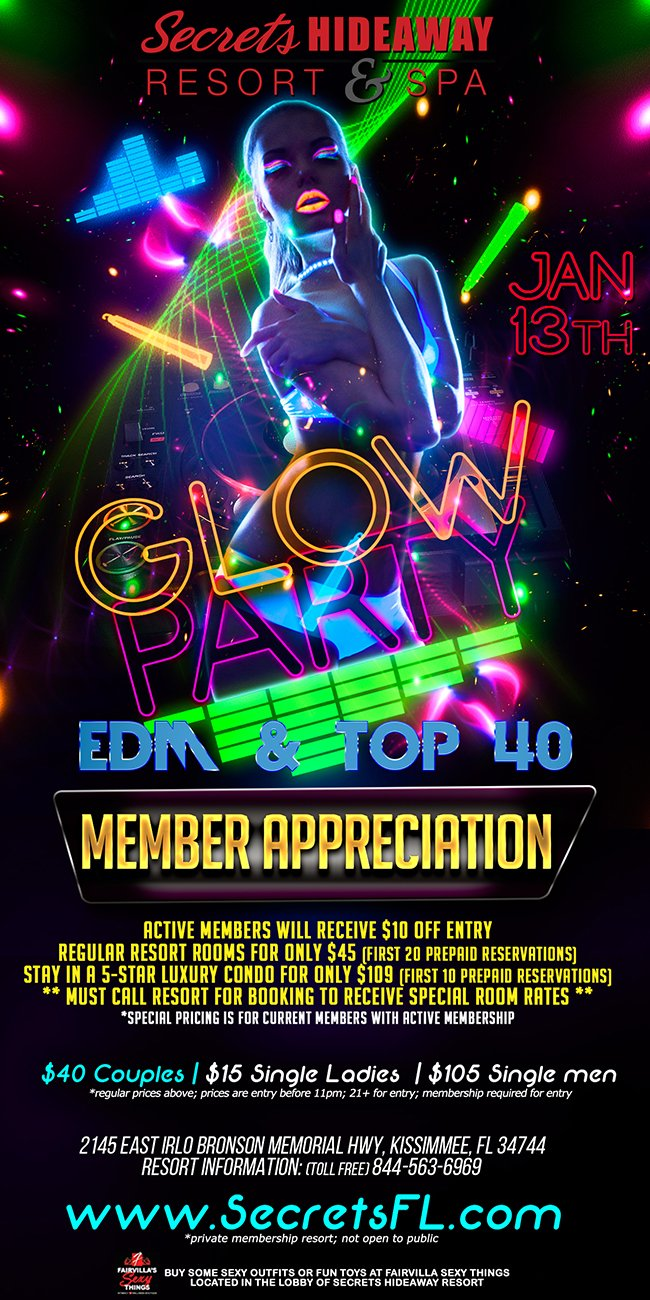 Events - GLOW night Orlando, Florida Lifestyle and Swinger Parties