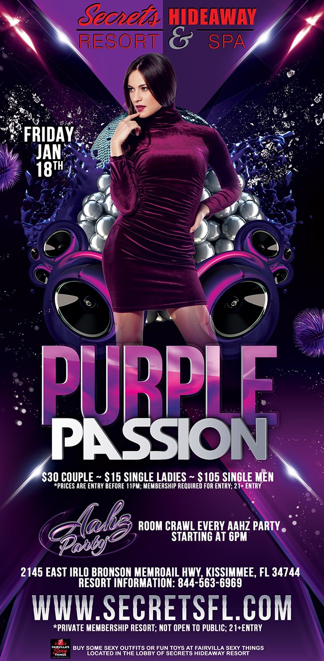 Events - Purple Passion - Aahz Party Weekend Bash Orlando, Florida Lifestyle and Swinger Parties