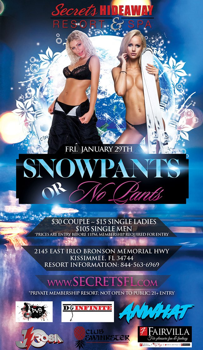 Events - Snowpants or No Pants Orlando, Florida Lifestyle and Swinger Parties