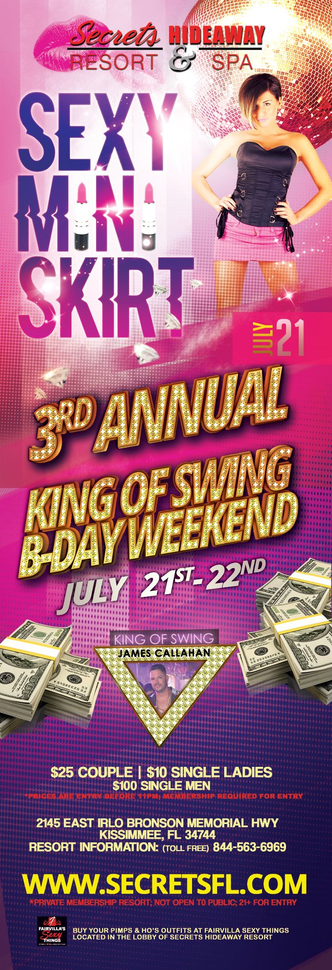 Events - Mini Skirt - King of Swing B-day Weekend Orlando, Florida Lifestyle and Swinger Parties