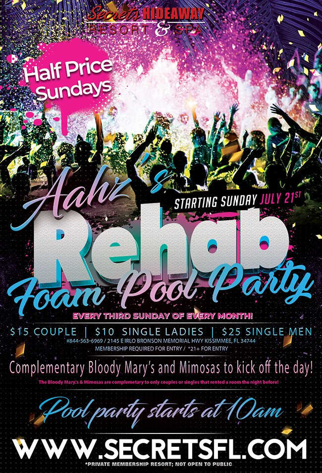 Events - Aahz Rehab Sunday Foam Pool Party - 10am-7pm Orlando, Florida Lifestyle and Swinger Parties