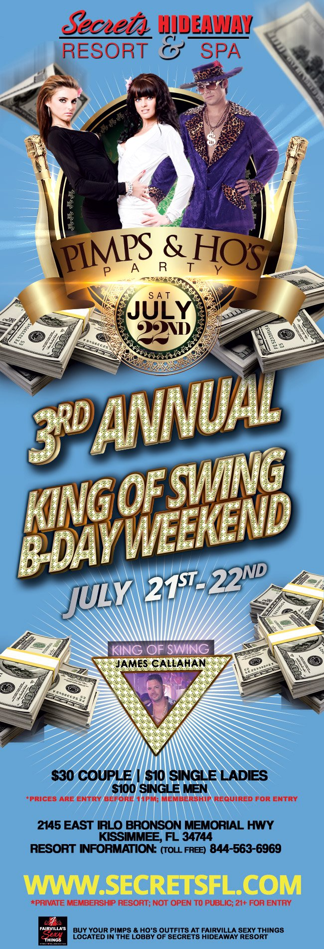Events - Pimps & Ho's - King of Swing B-day Weekend Orlando, Florida Lifestyle and Swinger Parties