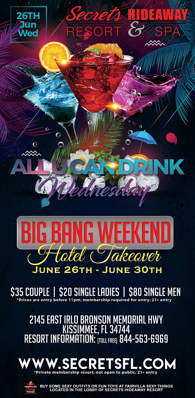Events - ALL U Can Drink - Big Bang Takeover Orlando, Florida Lifestyle and Swinger Parties