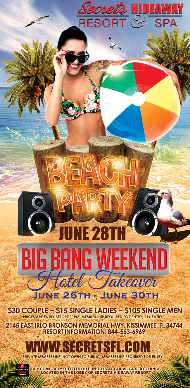 Events - Beach Party - Big Bang Takeover Orlando, Florida Lifestyle and Swinger Parties