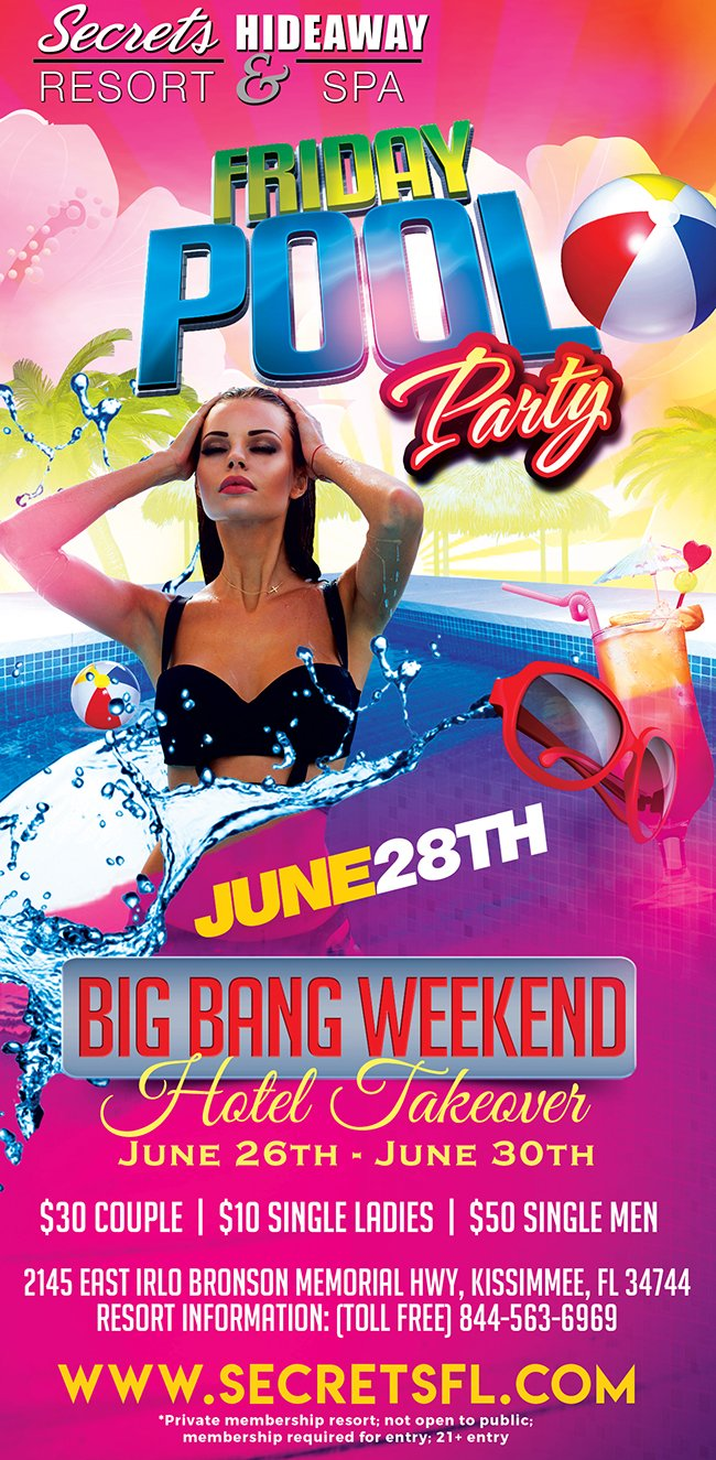 Events - Friday Pool Party 10am-5pm - Big Bang Takeover Orlando, Florida Lifestyle and Swinger Parties