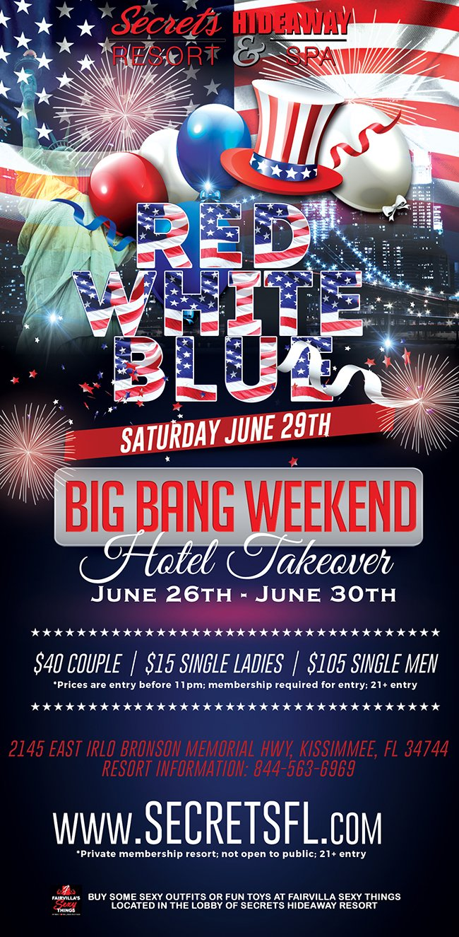 Events - Red White & Blue - Big Bang Takeover Orlando, Florida Lifestyle and Swinger Parties