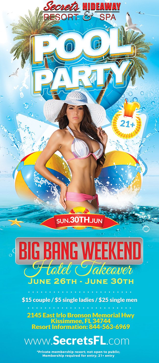 Events - Sunday Pool Party 10am-7pm - Big Bang Takeover Orlando, Florida Lifestyle and Swinger Parties