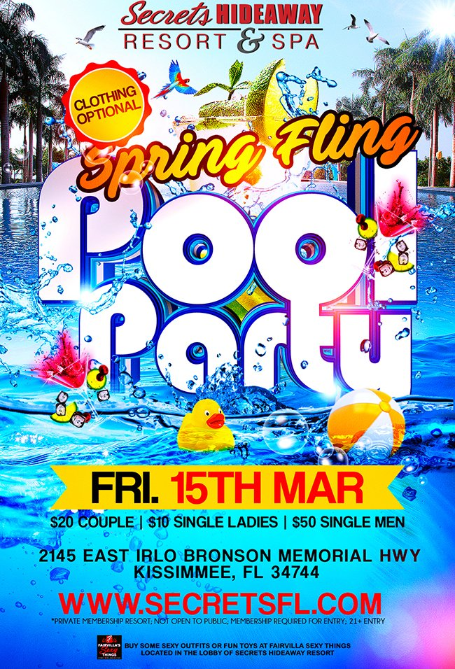 Events - Friday Pool Party 11am - 5pm - Spring Fling Orlando, Florida Lifestyle and Swinger Parties