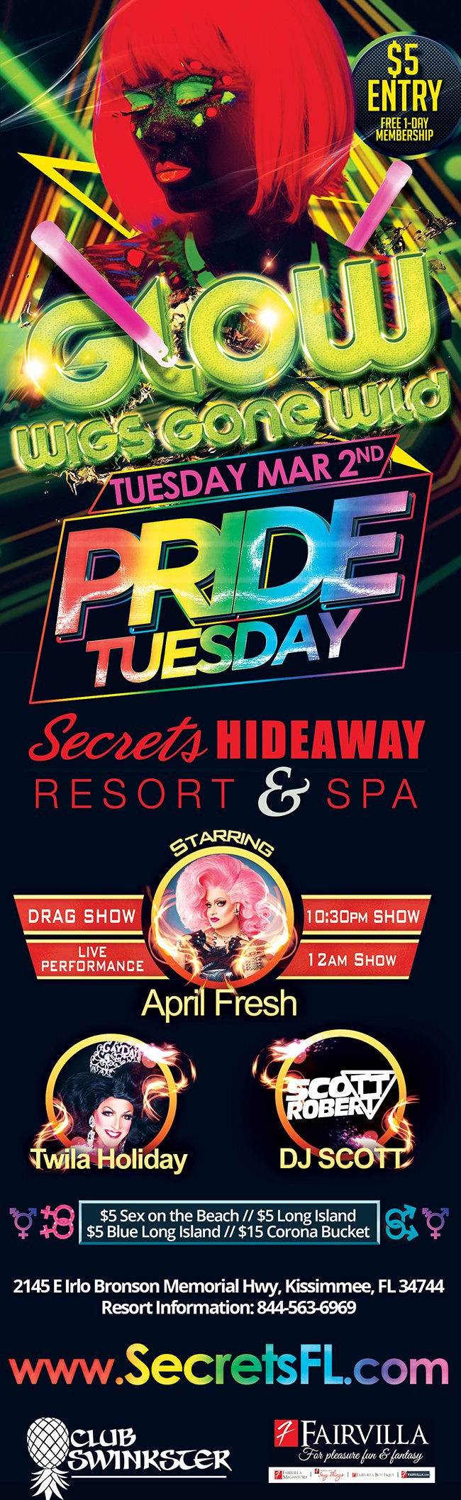 Events - Wigs Gone Wild Glow Night - Pride Tuesday Orlando, Florida Lifestyle and Swinger Parties