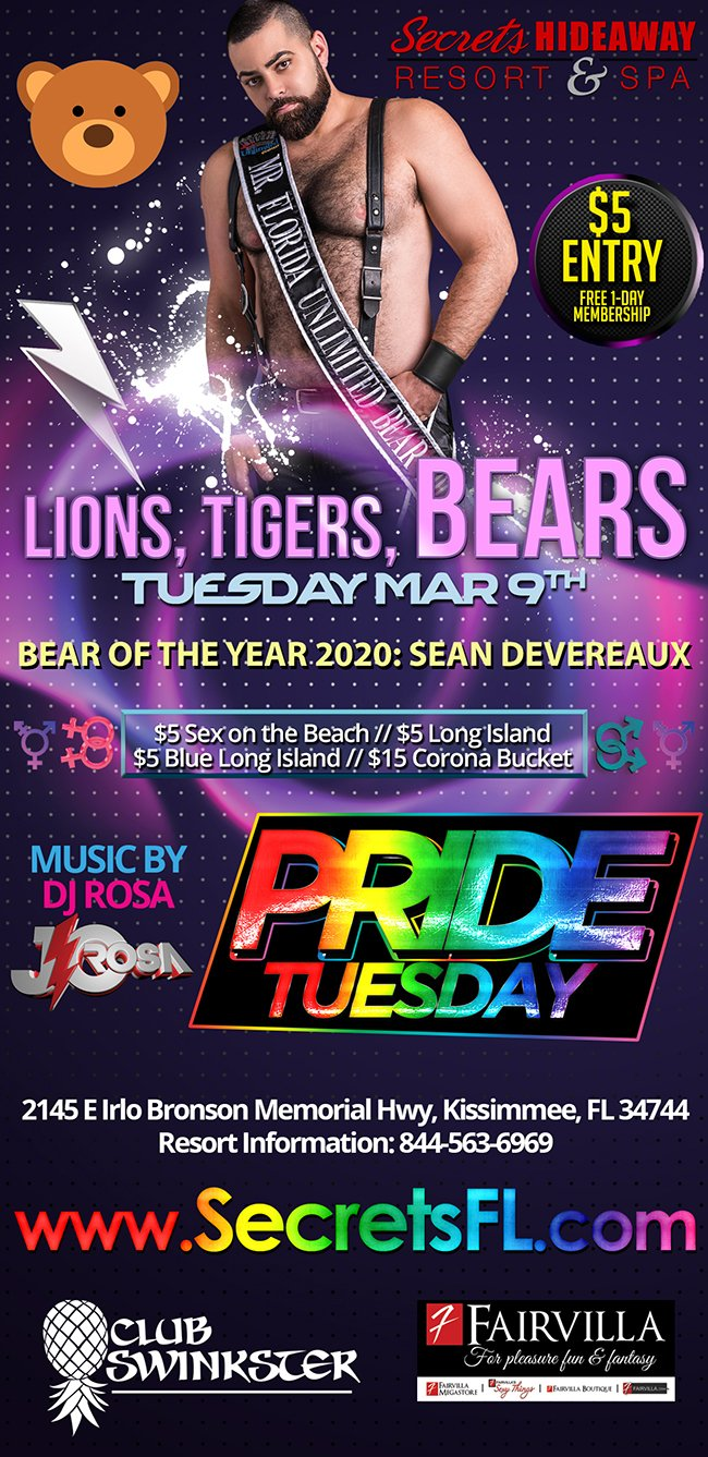 Events - Lions, Tigers, and BEARS - Pride Tuesday Orlando, Florida Lifestyle and Swinger Parties