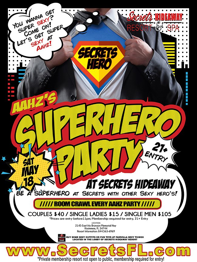 Events - Aahz Party - Superhero Party Orlando, Florida Lifestyle and Swinger Parties