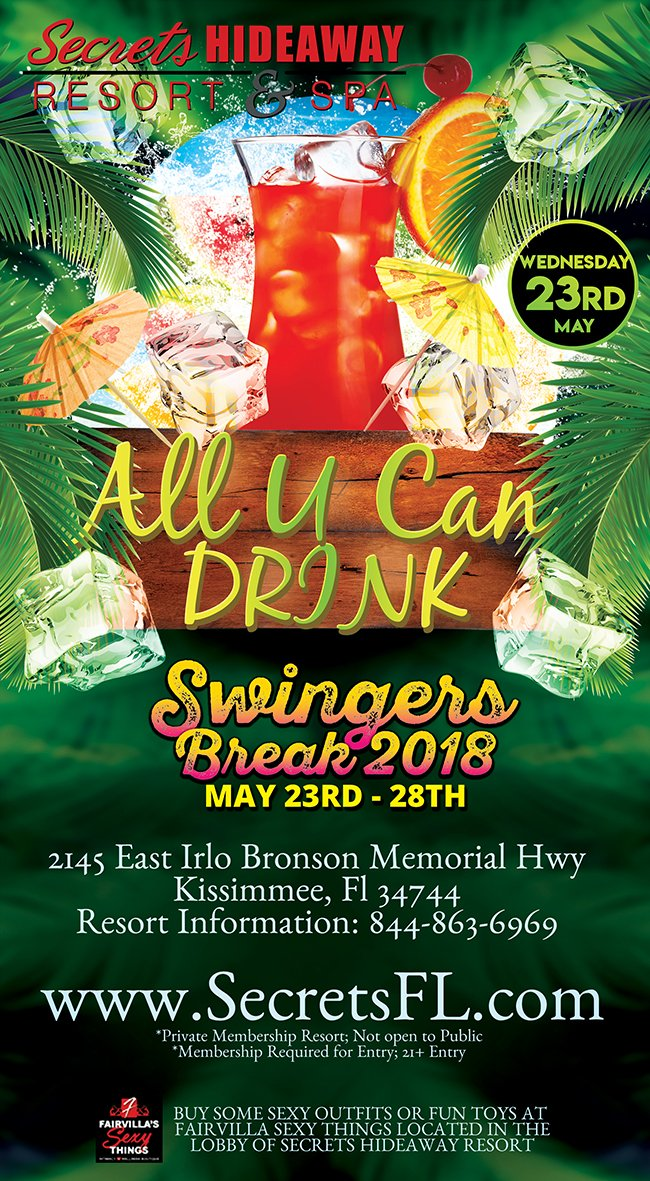 Events - All U Can Drink Swingers Break 2018 Orlando, Florida Lifestyle and Swinger Parties
