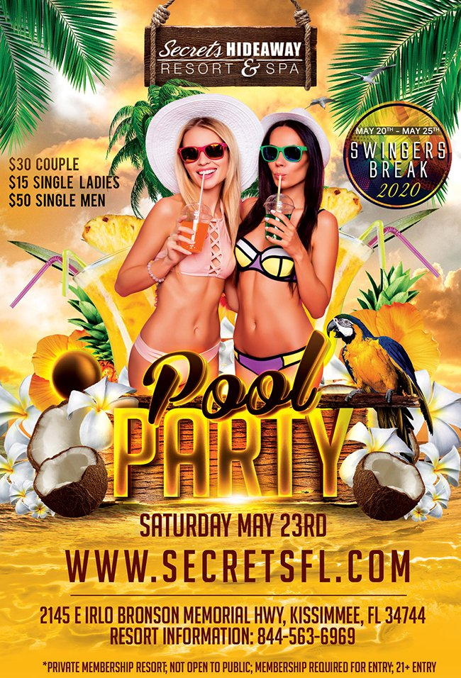 Events - Saturday Pool Party 10am - 5pm - Swingers Break Orlando, Florida Lifestyle and Swinger Parties