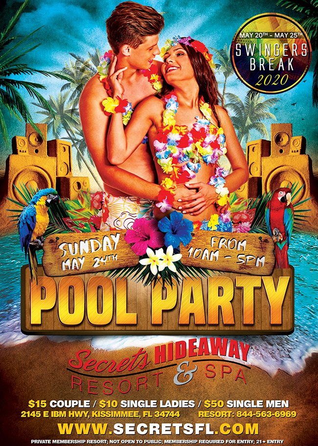Events - Sunday Pool Party 10am-5pm - Swingers Break