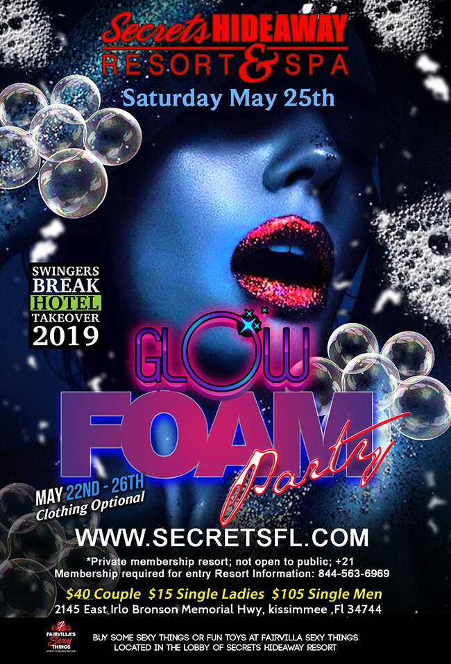 Events - Glow Foam Party - Swingers Break Orlando, Florida Lifestyle and Swinger Parties