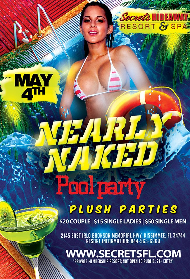 Events - Nearly Naked Pool Party - 10am - 5pm Orlando, Florida Lifestyle and Swinger Parties