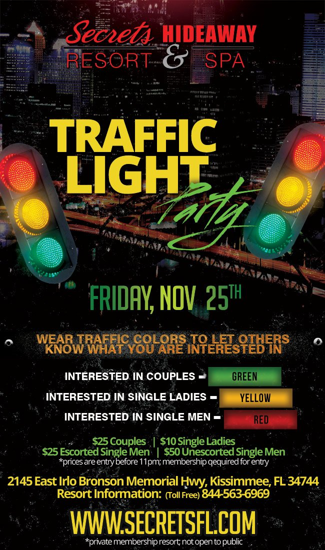Events - Traffic Light Party Orlando, Florida Lifestyle and Swinger Parties