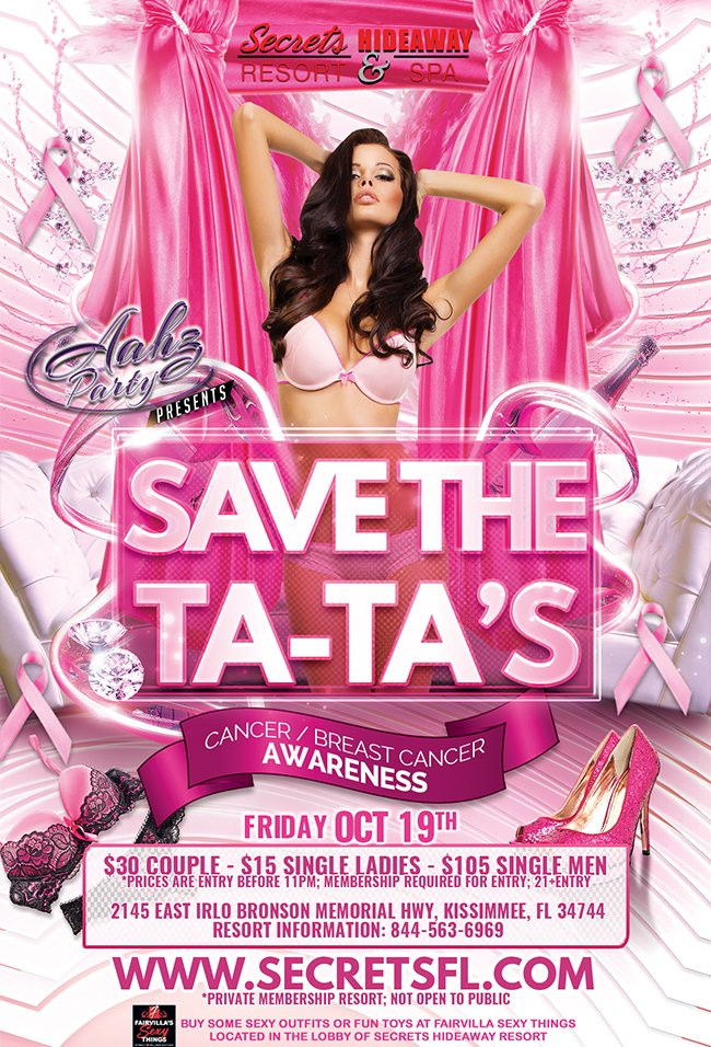 Events - Save the Ta-Ta's - Aahz Party Orlando, Florida Lifestyle and Swinger Parties