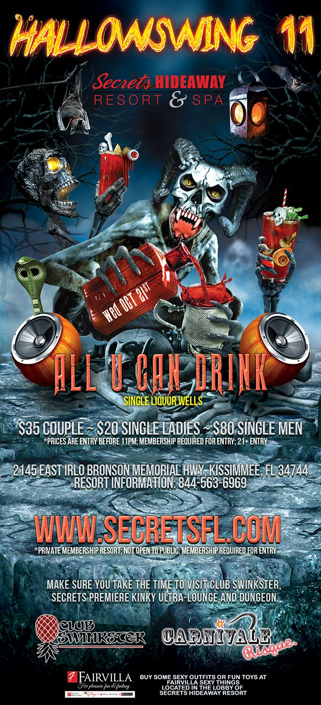 Events - All U Can Drink - Hallowswing 11 Orlando, Florida Lifestyle and Swinger Parties