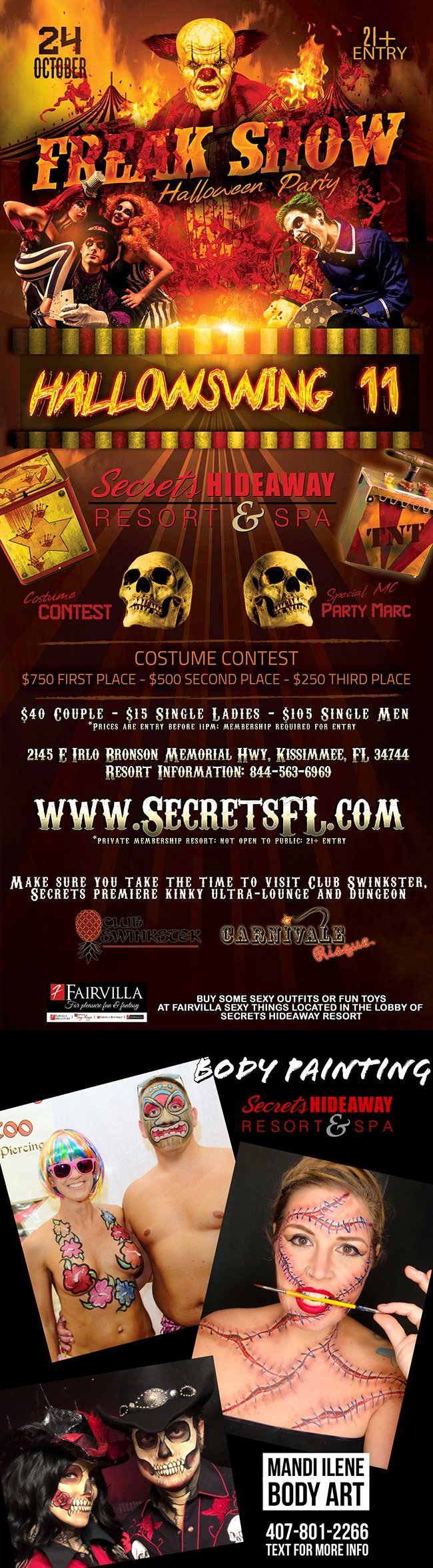 Events - Freak Show Hallowswing 11 Orlando, Florida Lifestyle and Swinger Parties