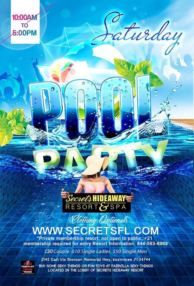 Events - Saturday Pool Party 10am - 5pm Orlando, Florida Lifestyle and Swinger Parties