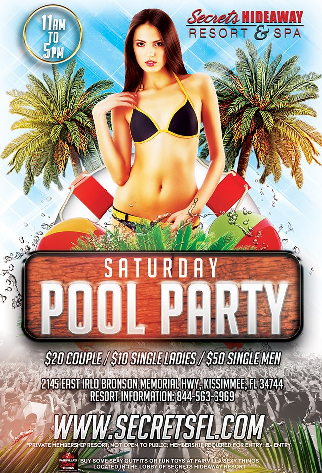 Events - Saturday Pool Party 11am-5pm Orlando, Florida Lifestyle and Swinger Parties