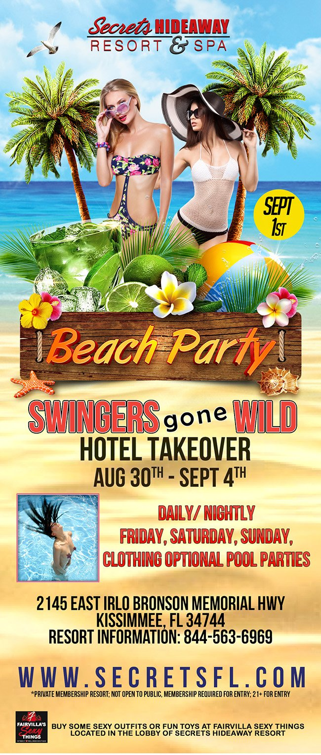 Events - Beach Party - Swingers Gone Wild Orlando, Florida Lifestyle and Swinger Parties