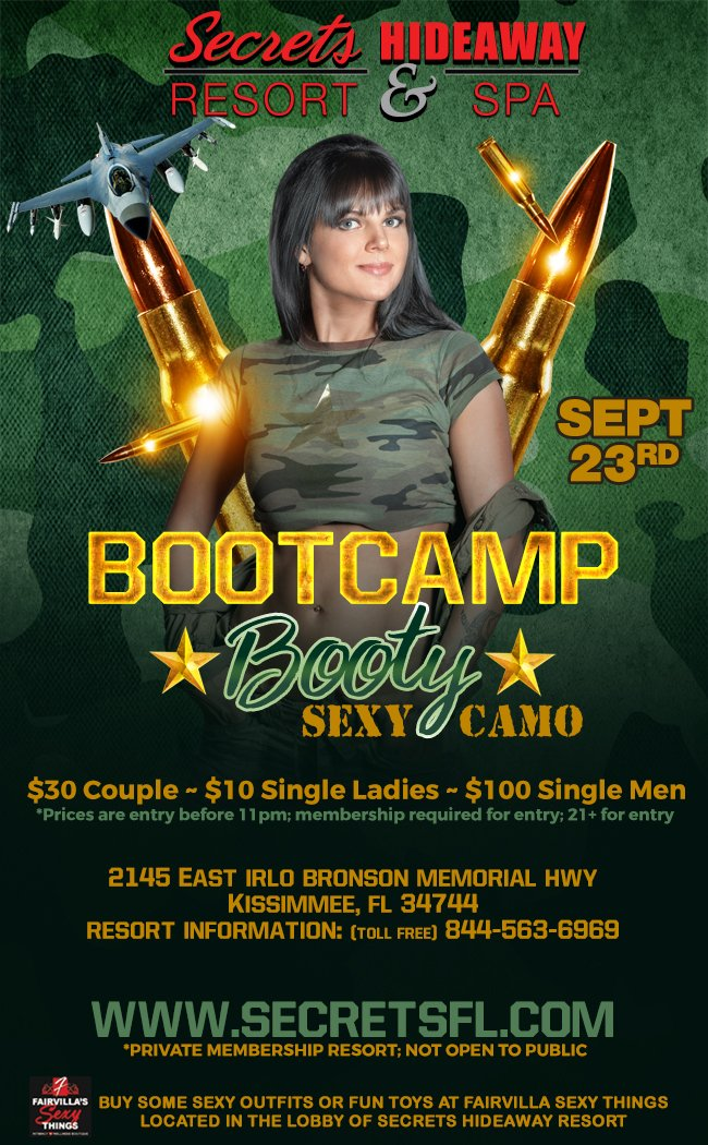 Events - Bootcamp Booty - Camo Party Orlando, Florida Lifestyle and Swinger Parties