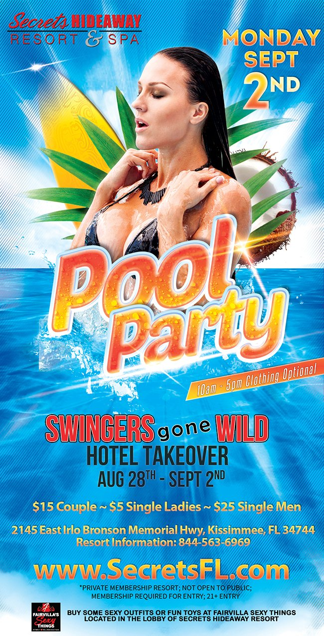 Events - Monday Pool Party 10am-5pm - Swingers Gone Wild Orlando, Florida Lifestyle and Swinger Parties