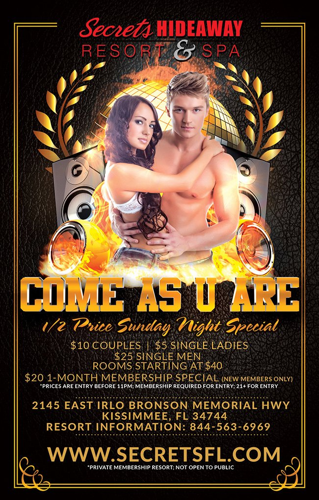 Events - Come As U Are Orlando, Florida Lifestyle and Swinger Parties
