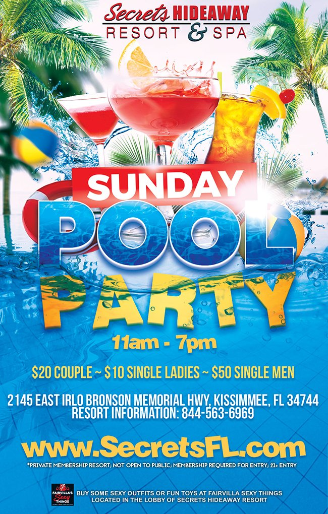 Events - Sunday Pool Party 11am-7pm Orlando, Florida Lifestyle and Swinger Parties