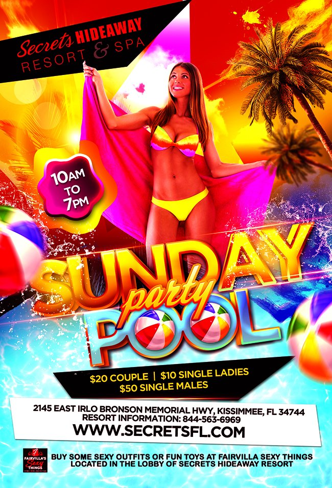 Events - Sunday Pool Party: 9am - 7pm Orlando, Florida Lifestyle and Swinger Parties