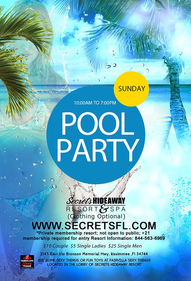 Events - Sunday Pool Party - 10am-7pm Orlando, Florida Lifestyle and Swinger Parties