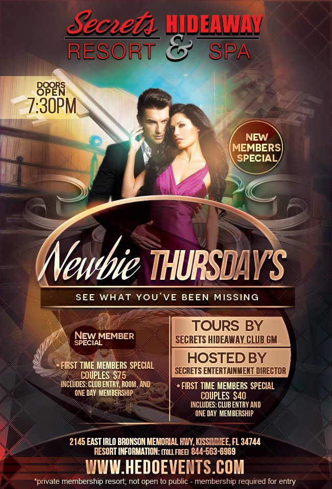 Events - Newbie Thursday Orlando, Florida Lifestyle and Swinger Parties