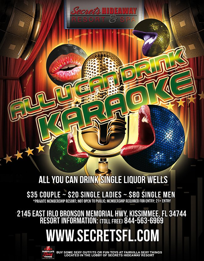 Events - All U Can Drink Karaoke Night Orlando, Florida Lifestyle and Swinger Parties