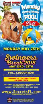 Monday Pool Party 11am-5pm Swingers Break 2018