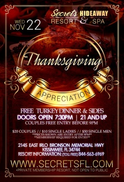 Happy Thanksgiving week at Secrets Hideaway